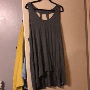 Forever 21 plus high low grey tank with cage back